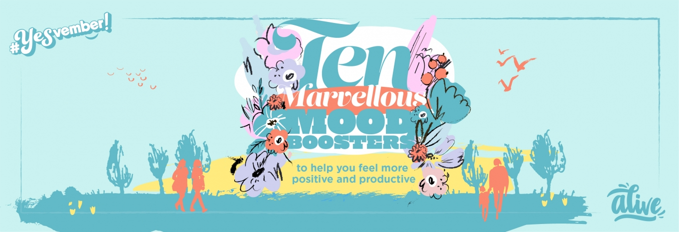 INFOGRAPHIC: 10 MOOD BOOSTERS to help you feel more positive and productive