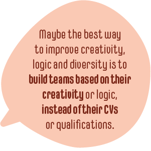 Roundal with text: Maybe the best way to improve creativity, logic and diversity is to build teams based on their creativity or logic, instead of their CVs or qualifications.
