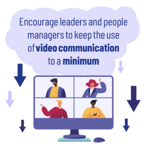 Main image: Video screen of 4 people different ethnicities having a zoom call with arrows pointing downwards around the image. With the wording 'encourage leaders and people managers to keep the use of video communication to a minimum'