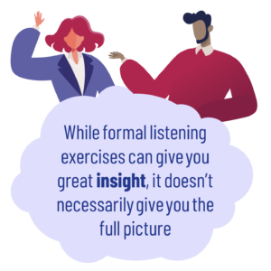Main image: A man and a women standing over a cloud bubble with the wording 'While formal listening exercises can give you great insight, it doesn't necessarily give you the full pictur'