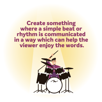 Image of a man playing drumkit with a spotlight on him with the wording 'create something where a simple beat or rhythm is communicated in some way which can help the viewer enjoy the words'