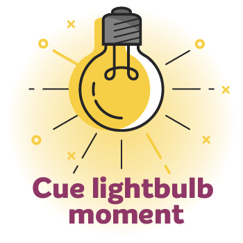 lightbulb image with the wording 'cue lightbulb moment'
